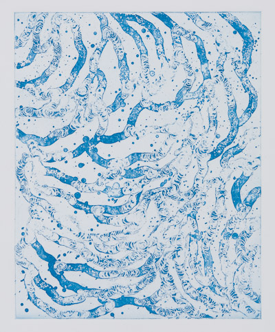 Etching by Dan Treado titled 'Blue Line'
